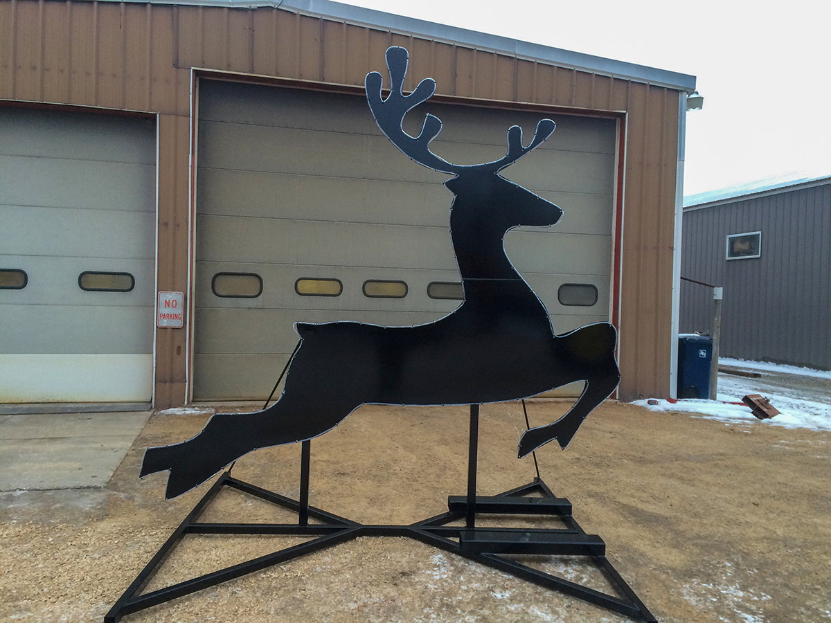 Custom steel deer created by Rice Lake Fabricating